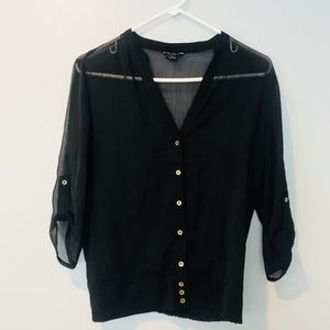 GUESS | Transparent Button Down Blouse S